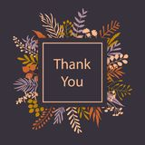 Thank you floral twigs branches frame greeting card. Background Stock Photo