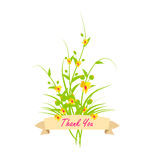 Thank you With Flowers Set. Grass With Flowers Set, Vector Illustration Royalty Free Stock Images