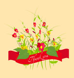Thank you With Flowers Set. Grass With Flowers Set, Vector Illustration Royalty Free Stock Photo
