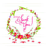 Thank you With Flowers Set. Grass With Flowers Set, Vector Illustration Royalty Free Stock Photos