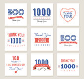 Thank you followers, badges, stickers and labels Royalty Free Stock Photography