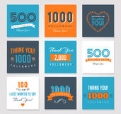 Thank you followers, badges, stickers and labels Stock Photos