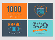 Thank you followers, badges, stickers and labels stock illustration