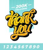 Thank you followers banner. Editable vector template for social media with brush lettering and all numbers on isolated royalty free stock photo
