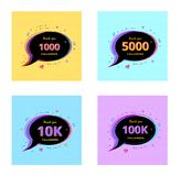 Set of Followers thank you banners. Vector illustration. Thank you followers Banners. Set of card for social media networks. Template for post. Glitch chromatic vector illustration