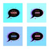 Set of Followers thank you banners. Vector illustration. Thank you followers Banners. Set of 1000, 2000, 3000, 4000 followers card for social media networks stock illustration