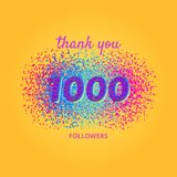 Thank you followers card on bright  background. 1000 followers card. Thank you followers banner with frame on bright  background. Simple  illustration Royalty Free Stock Photos