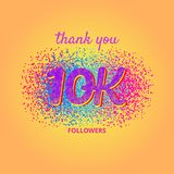 Thank you followers card on bright background. 10000 followers card. Thank you 10K followers banner with frame on bright background. Simple vector illustration Stock Illustration