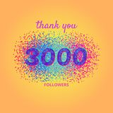 Thank you followers card on bright background. royalty free illustration
