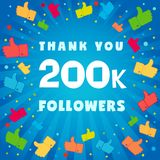 Thank you 200000 followers card. Congratulations 200K followers thanks banner background with colored confetti and like icons. Vector illustration vector illustration