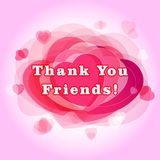 Thank you followers card. The gratitude picture for network friends, likes and shares thanks. One hundred, thousand, million numbers, hearts. Congratulating Vector Illustration