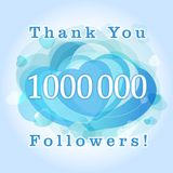 Thank you 1000000 followers card. The gratitude picture for network friends, likes and followers thanks. One million numbers with hearts. Congratulating Stock Illustration