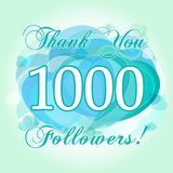 Thank you 1000 followers card. The gratitude picture for network friends, likes and followers thanks. One thousand or million numbers, hearts. Congratulating Stock Illustration
