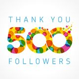 Thank you 500 followers card. Thank you 500 followers numbers. Congratulating multicolored thanks image for net friends likes, % percent off discount, colored vector illustration