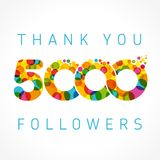 Thank you 5000 followers card. Thank you 5000 followers numbers. Congratulating multicolored thanks image for net friends likes, % percent off discount, colored Stock Photography