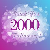 Thank you 2000 followers card. Picture for networks friends, likes sign and shares of thanks. Holiday blue numbers, isolated tag hearts symbol. Congratulating Stock Image