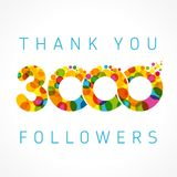 Thank you 3000 followers card Stock Photo