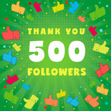 Thank you 500 followers card. 500 followers vector illustration with thank you on pattern of colored likes vector illustration