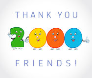 Thank you 2000 followers card. The vector thanks symbol for internet network friends with colored cartoon numbers. Animated smiling digits Royalty Free Stock Image