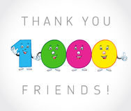 Thank you 1000 followers card. The vector thanks symbol for internet network friends with colored cartoon numbers. Animated smiling digits Stock Illustration