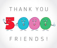 Thank you 5000 followers card. The vector thanks symbol for internet network friends with colored cartoon numbers. Animated smiling digits Stock Illustration