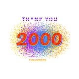 Thank you followers card on white  background. 2000 followers card. Thank you 2K followers banner with frame on white  background. Simple  illustration Royalty Free Stock Photos