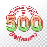 Thank you 500 followers. Color Glass digits template of thankfulness to followers on transparent background. Suitable for any social channels. Vector vector illustration