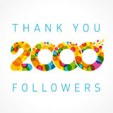 Thank you 2000 followers color numbers. Thank you 2000 followers numbers. Congratulating multicolored thanks image for net friends likes, % percent off discount royalty free illustration