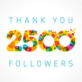 Thank you 2500 followers colored numbers. Thank you 2500 followers numbers. Congratulating multicolored thanks image for net friends likes, % percent off vector illustration