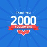 Thank you 2000 followers. Congratulation card. Web Social media concept. Blogger celebrates a many large number of. Subscribers vector illustration