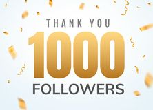 Thank you 1000 followers design template social network number anniversary. Social users golden number. Friends thousand celebration stock illustration