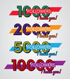 Thank you followers, Image for Social Networks, Vector illustration. Elements for design Stock Photography