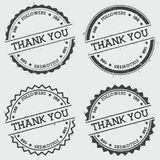 Thank you 500 followers insignia stamp isolated. Thank you 500 followers insignia stamp isolated on white background. Grunge round hipster seal with text, ink royalty free illustration