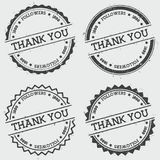 Thank you 1000 followers insignia stamp isolated. Thank you 1000 followers insignia stamp isolated on white background. Grunge round hipster seal with text, ink Royalty Free Stock Photos