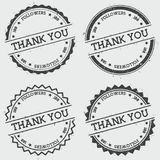 Thank you 100 followers insignia stamp isolated. Thank you 100 followers insignia stamp isolated on white background. Grunge round hipster seal with text, ink vector illustration