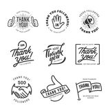 Thank you followers labels set. Vector vintage illustration. Royalty Free Stock Image