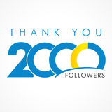 Thank you 2000 followers logo. Thanks 2000 logotype. Congratulating coloured networking template, net friends image, %, -% percent off discount. Round isolated stock illustration