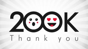 Thank you 200k followers label. Thank you 200 000 followers logotype. Congratulating black and white colours networking thanks, net friends abstract image royalty free illustration