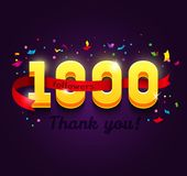 Thank you 1000 followers network card. vector illustration