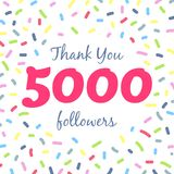 Thank you 5000 followers network post. Vector digital illustration. Celebration of five thousands subscribers Stock Illustration