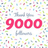 Thank you 9000 followers network post stock illustration