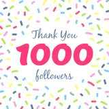 Thank you 1000 followers network post. Vector digital illustration. Celebration of one thousand subscribers Royalty Free Stock Images