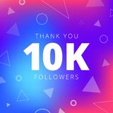 Thank you 10000 followers network post. Vector digital illustration. Celebration of ten thousands subscribers Royalty Free Stock Image