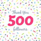 Thank you 500 followers network post. Vector digital illustration. Celebration of five hundreds subscribers stock illustration