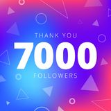 Thank you 7000 followers network post. Vector digital illustration. Celebration of seven thousands subscribers Stock Illustration