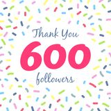 Thank you 600 followers network post. Vector digital illustration. Celebration of six hundreds subscribers Stock Image