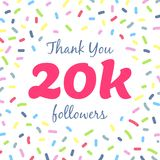 Thank you 20000 followers network post. Vector digital illustration. Celebration of twenty thousands subscribers Royalty Free Stock Images