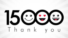 Thank you 15000 followers numbers. Congratulating black and white networking thanks, net friends image in two 2 colors, customers 15 000 likes, % percent off Vector Illustration