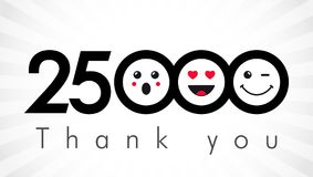 Thank you 25000 followers numbers. Congratulating black and white networking thanks, net friends image in two 2 colors, customers 25 000 likes, or % percent Vector Illustration