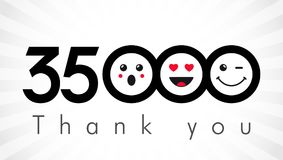 Thank you 35000 followers numbers. Congratulating black and white networking thanks, net friends image in two 2 colors, customers 35 000 likes, or % percent Stock Illustration